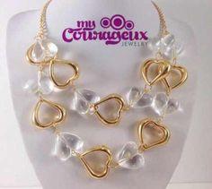 Heart Filled Necklace www.mycourageuxjewelry.com #mycourageuxjewelry #necklace #jewelry #accessories #branding #building