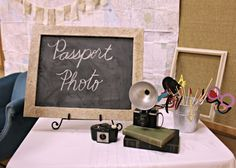 Passport photo booth for a vintage airplane party Passport Photo Booth, Vintage Airplane Party, Vintage Airplanes, Airplane Wedding, Vintage Travel Themes, Vintage Travel Wedding, Vintage Theme, Vintage Ideas, Travel Theme Parties