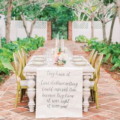 Table with calligraphy banner for Dominican Republic wedding Wedding Shoot, Wedding Signs, Wedding Coordinator, Wedding Planner, Dominican Republic Wedding, Fort Worth Wedding, Love Is In The Air, Wedding Reception Decorations, Wedding Table