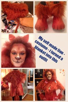 Diy lion costume and lion make up - Self made - out of a blanket Some Pictures, Making Out, Ronald Mcdonald, Lion, Fur Coat, Costumes, Blanket, Character, Fashion