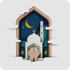 Ramadhan on Behance 3d Paper Art, Paper Artwork, Islamic Decor, Islamic Art, Poster Ramadhan, Ramadhan Quotes, Ied Mubarak, Ramadan Poster, Ramadan Background