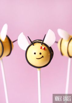 Easter Cake Pops ideas: Bumble Bee  Flowerpot Cake Pops - Tutorial - by niner bakes