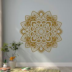 Mandala Wall Decal Sticker Yoga Decals Lotus Flower Indian Decor Wall Art Bedroom Dorm Nursery Boho Bohemian Home Decor Interior Design Approximate