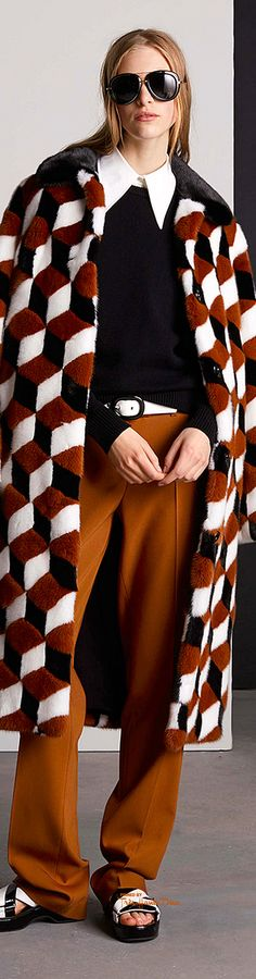 Michael Kors Collection Resort - geometric fluffy coat to go 70s geometric head over heels 4 via Très Haute Diva