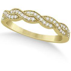 Allurez Diamond Infinity Semi Eternity Wedding Band 14k Yellow Gold... ($950) ❤ liked on Polyvore featuring jewelry, rings, yellow gold, yellow gold diamond rings, 14k gold ring, wedding rings, gold diamond rings and yellow gold wedding rings