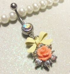 Belly ring, naval ring with peach and crystal rose and ivory bow 14ga
