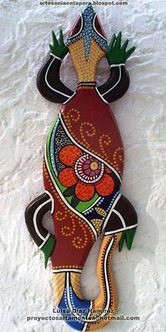 Artcraft by Luisa Diaz Ramirez (Venezuela) Dot Painting, Stone Painting, Garden Mural, Mosaic Garden, Colorful Lizards, Stippling Art, Desert Art, Naive Art, Mandala Pattern