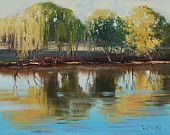 ORIGINAL RIVER PAINTING Willow trees landscape in Oil fine art by G.Gercken
