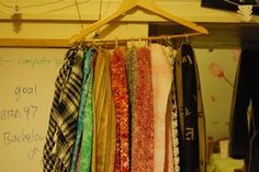Scarf storage: shower curtain rings + hanger = awesome.