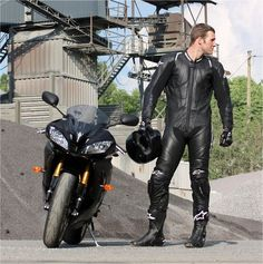 Gay black leather bikers
