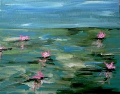 Water Lillies Paint Party, Easy Paintings, Color Show, Art Projects, Canvas Art, Diy Things, Artwork, Fun, Pictures