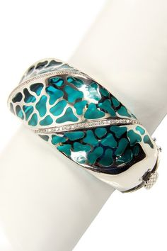 Leopard Resin Hinged Bangle  by Jewelry by Saachi on @HauteLook
