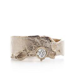 Asymetrical ring with diamond   Wim Meeussen Goldsmith Antwerp