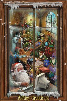 Santa's Workshop by Ashley photo SantasworkshopbyAshley. Christmas Scenes, Noel Christmas, Vintage Christmas Cards, Christmas Pictures, Winter Christmas, Father Christmas, Christmas Houses, Victorian Christmas, Old Fashioned Christmas