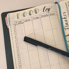 I'm attempting a food log this month, so I can see how what I eat affects my energy level and (possibly) moods. . . . . . . #bulletjournal #leuchtturm1917 #foodlog #productivity