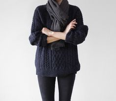 charcoal grey knit, jumper, cable knit, jeans, fashion, style, scarf