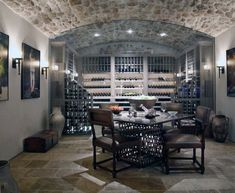 Top 80 Best Wine Cellar Ideas - Vino Room Designs Tuscan Style Homes, Tuscan House, Home Wine Cellars, Wine Wall Art, Wine Cellar Design, Natural Stone Flooring, Modern Architects, Living Room Decor, Dining Room