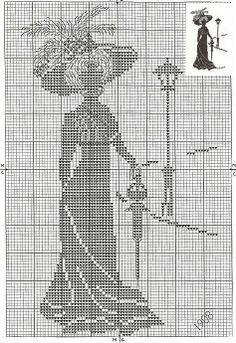 point de croix femme époque victorienne vintage - cross stitch victorian woman vintage