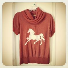 Horse slouchy shirt hand stenciled rust and white OOAK upcycled. $15.00, via Etsy.