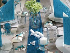 SET: Tischdeko 20 Personen Fisch Petrol Grau Weiß Kommunion Konfirmation – Bild 2