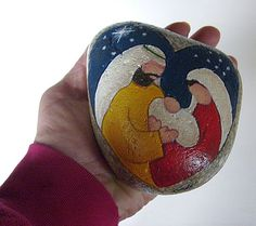 Heart of Christmas Gold and Red Reversible Painted Rock - Unique Nativity Sets   Nativity Scene Figures   Painted on Rocks and Stones by Cindy Thomas