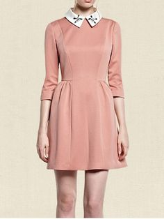 Pink Long Sleeve Bead Lapel Flare Dress US$39.30