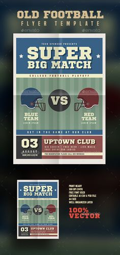 Old America Football Flyer by Guuver this flyer made by vector and perfect for your special event like live match, college football or whatever you want FeaturesAi CS