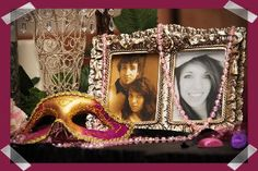 Masquerade Party Decorating Ideas...pics on welcoming table: me when i was baby and me now