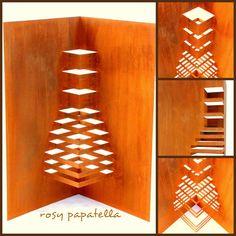 escultura aço oxidado - origami arquitetonico by rosy papatella
