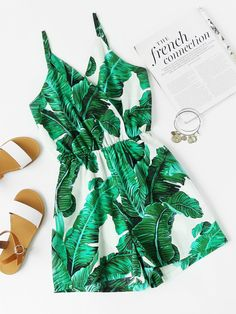 Shop Banana Leaves Print Random Surplice Cami Romper at ROMWE, discover more fashion styles online. Cute Rompers, Rompers Women, Cute Casual Outfits, Summer Outfits, Romwe, Mode Rock, Womens Clothing Stores, Clothes For Women, Teen Fashion Outfits