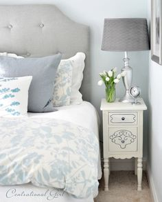 feminine bedroom - Eclectic - Bedroom - other metro - by Kate Riley - Centsational Girl Furniture Makeover, Bedroom Furniture, Bedroom Decor, Master Bedroom, Gray Bedroom, Blue Bedrooms, Furniture Design, Teen Bedroom, Furniture Projects
