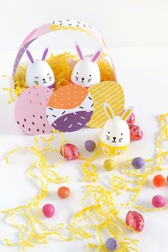 DIY easter egg bunnies and printable basket