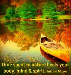 """Autumn forest with reflective, quote from Katrina Mayer…""""Time spent in nature heals your body, mind and spirit.""""- Katrina Mayer"""