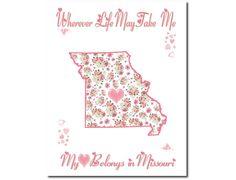 Art Print Hearts and Flowers Missouri My Heart Belongs 10x8 Pink or White