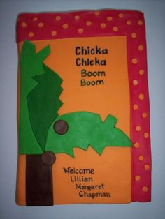 "Chicka chicka boom boom cake, fondant. ""This was for a baby shower with a book theme. I wasn't very happy with my lettering. The person who ordered it showed up early and was watching me finish! PRESSURE!"""