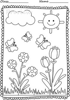 Spring Coloring Pages by Anastasiya Multimedia Studio Summer Coloring Sheets, Camping Coloring Pages, Spring Coloring Pages, Preschool Coloring Pages, Adult Coloring Pages, Coloring Books, Drawing Lessons For Kids, Art Drawings For Kids, Coloring Pictures For Kids