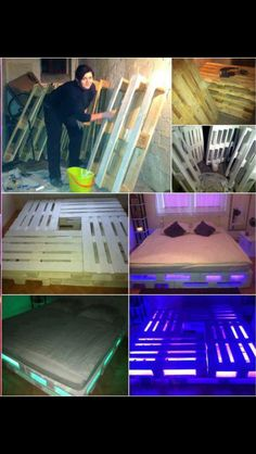Love this for when I get an apartment senior year but I don't want to bring … - Pallet Diy Pallet Bed Frames, Diy Pallet Bed, Diy Bed Frame, Pallet Wood, Wooden Pallet Beds, Wood Pallets, Diy Bett, Bed Lights, Pallet Furniture
