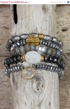 MOTHERS DAY SALE Hematite Druzy Stretch bracelets / tahitian pearl / labradorite / stackable bracelets / set of five