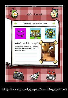Need an idea for a writing center activity on your classroom iPad? Check out this neat app- Kids Journal