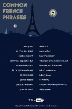 Every French learner needs to memorize these common French phrases to kickstart your lessons! It's also great for travelers who are going to France on vacation! Check out 50 of the most common French… French Travel Phrases, Common French Phrases, Useful French Phrases, Basic French Words, How To Speak French, English To French Phrases, French Language Lessons, French Language Learning, Learn A New Language