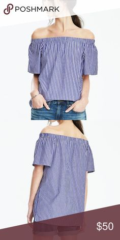 banana republic off the shoulder top banana republic. off the shoulder. blue and white striped. worn twice; like new. Banana Republic Tops Tees - Short Sleeve