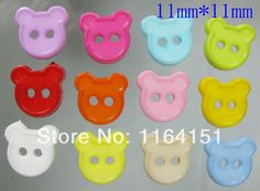 Mixed Nylon Cartoon Bear Head Button  2 Holes Sewing Buttons for garment Scrapbooking Accessory 200 Pcs  14*16mm  sk0028-1 $9.98