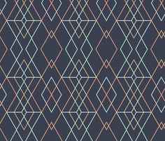 Perfect for bench seat if dogs are going to sit on it. Geometric Grid - Dark Blue fabric by kimsa on Spoonflower - custom fabric