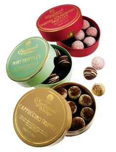 Charbonnel et Walker  Gourmet truffles available in eight decadent flavors. Dusted Strawberry, Mint, and Cappucino shown. $22, box of eight. England.    bergdorf goodman