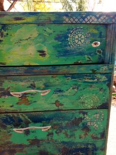 Shoreline hand painted dresser. $420.00, via Etsy.