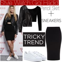Tricky Trend with Gigi Hadid... by nfabjoy on Polyvore featuring Boohoo, Zara, Roland Mouret, adidas Originals, TrickyTrend, leatherjacket, sneakers, pencilskirt and gigihadid