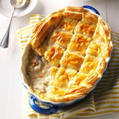 Puff Pastry Chicken Potpie Puff Pastry Chicken Potpie Recipe -When my wife is craving comfort food, I whip up my chicken potpie. It's easy to make, sticks to your ribs and delivers soul-satisfying flavor. —Nick Iverson, Taste of Home lead test cook Pie Recipes, Cooking Recipes, Chicken Recipes, Casserole Recipes, Chicken Casserole, Recipies, Turkey Recipes, Turkey Casserole, Hamburger Casserole
