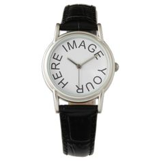 Custom Women's Classic Black Leather Strap Watch - click/tap to personalize