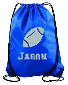 Football personalized string bag- Kids drawstring bags, gym bags,  backpacks, , swimbag b767aac448