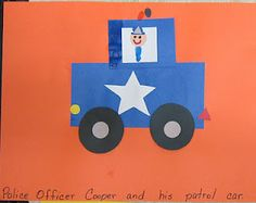 "Read the book ""Office Buckle and Gloria"" by Peggy Rathmann.  After I read it everyone decided that it was wonderful and I had to read it again!  That is the sign of a really good children's book!  Our art project for Tuesday had to be special and it was.  We made a police patrol car made from shapes!"